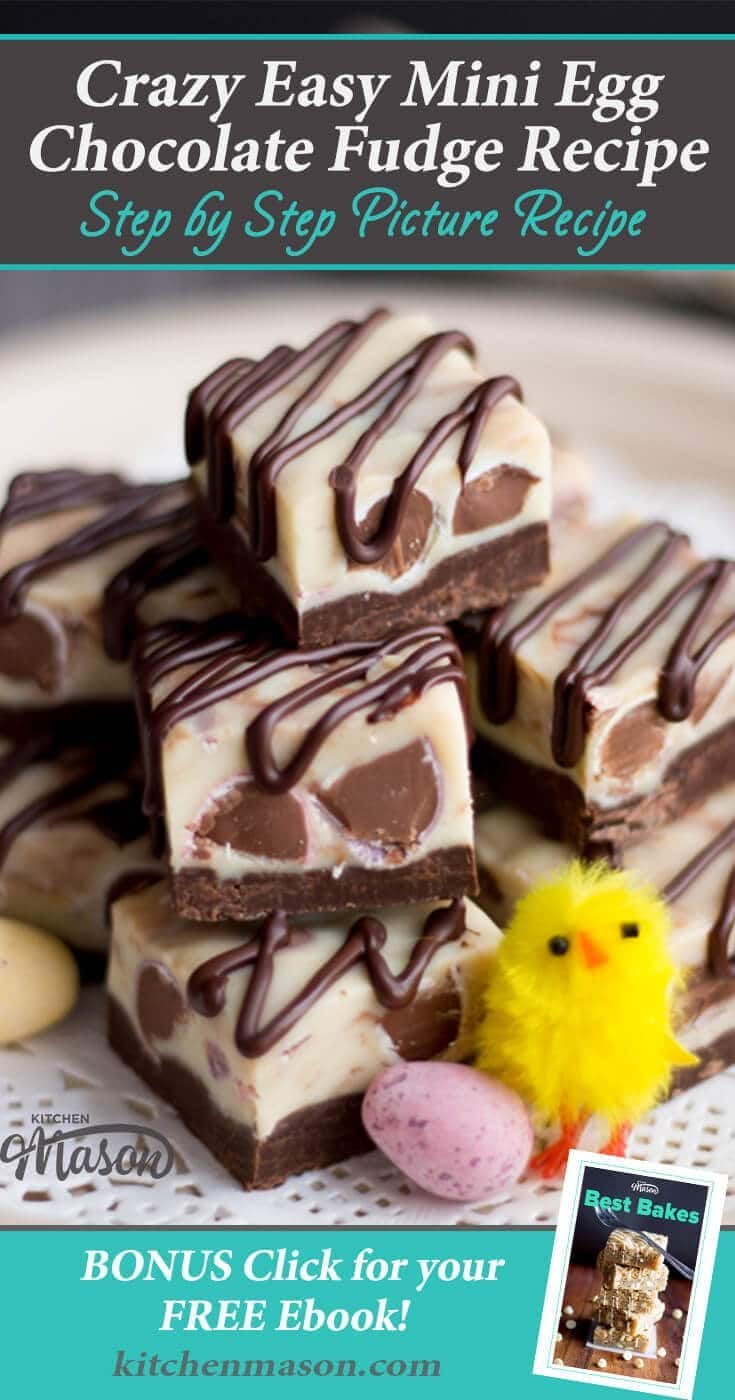 Make Easter EPIC with this easy to make Mini Egg Chocolate Fudge recipe. A perfect recipe for kids, this microwave fudge is a guaranteed hit! #easter #minieggs #microwavefudge #easterfudge
