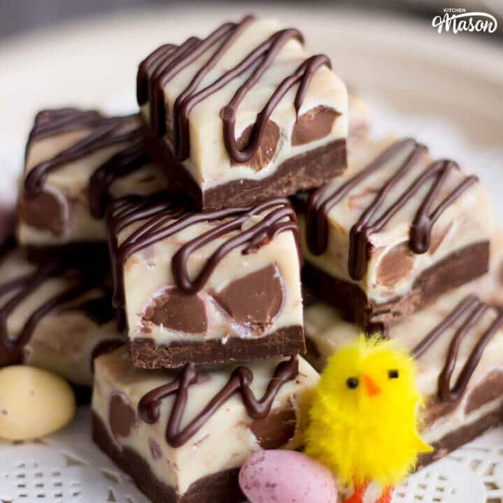 Mini Egg Chocolate Fudge With a Dark Chocolate Drizzle
