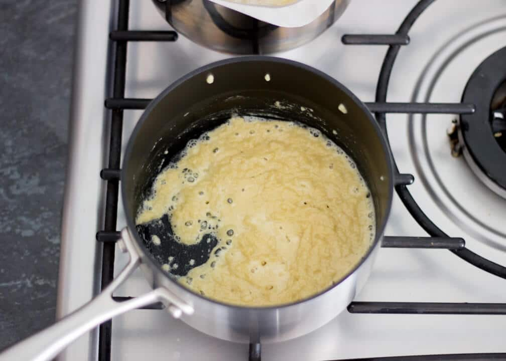 Macaroni Cheese - making a roux in a pan