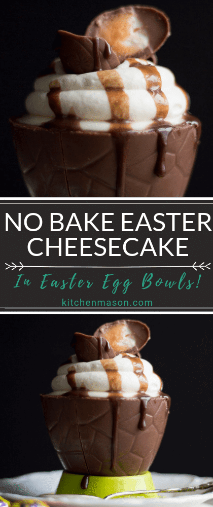 No bake Easter cheesecake in an Easter egg bowl topped with whipped cream, mini Creme Eggs and chocolate sauce.
