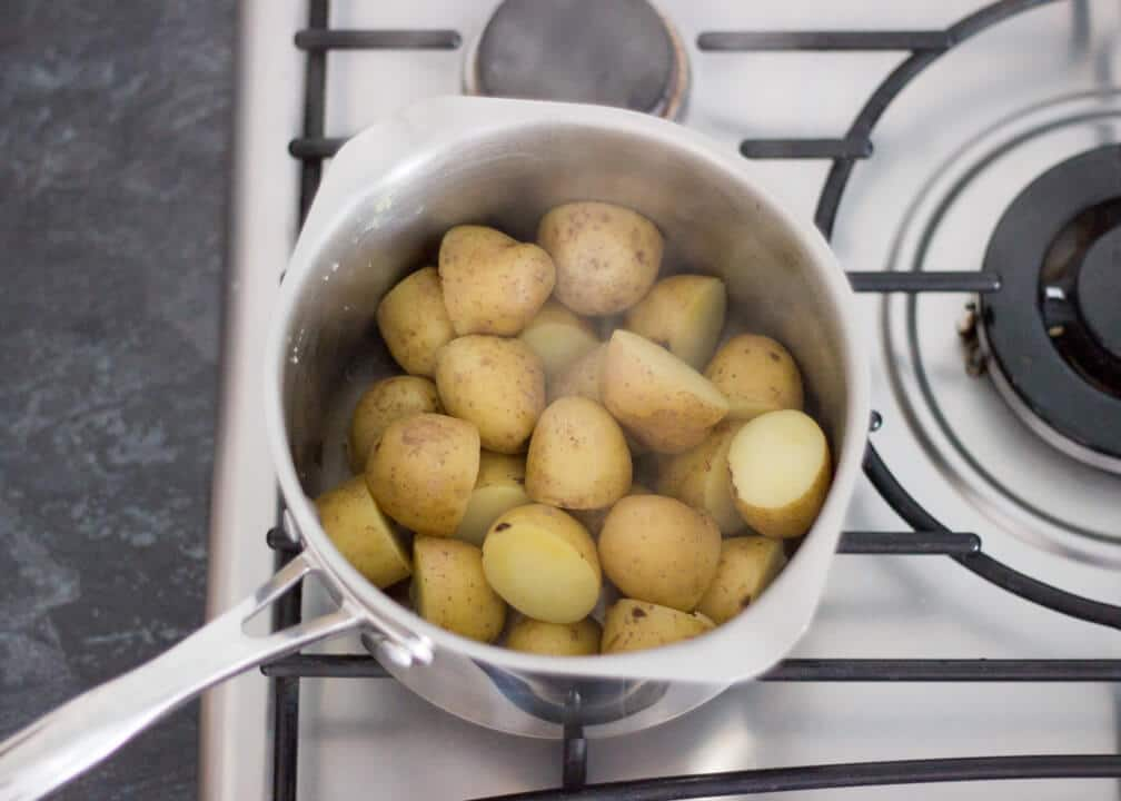 Drained Boiled Potatoes in a Pan