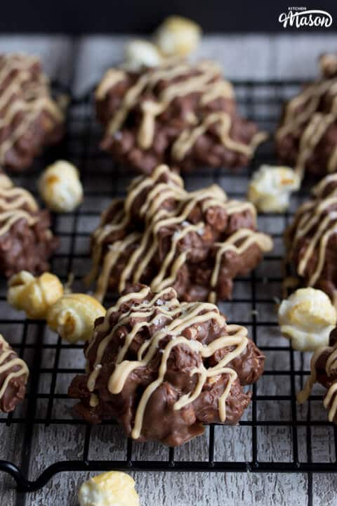 Salted Caramel No Bake Cookies on a Cooling Rack