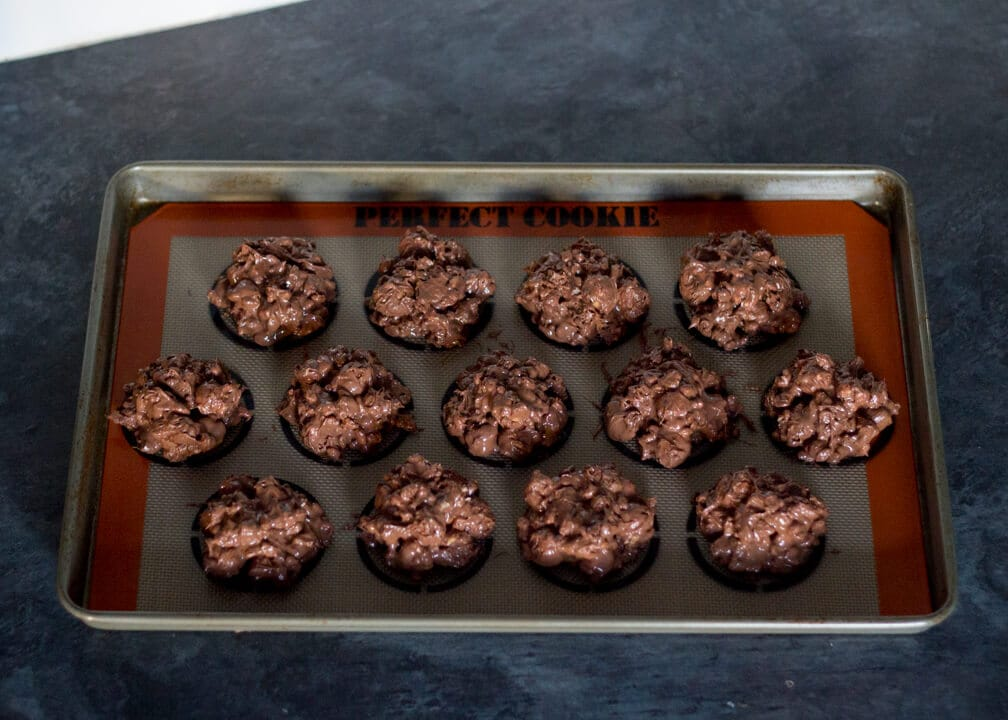 No Bake Cookies on a Lined Baking Tray