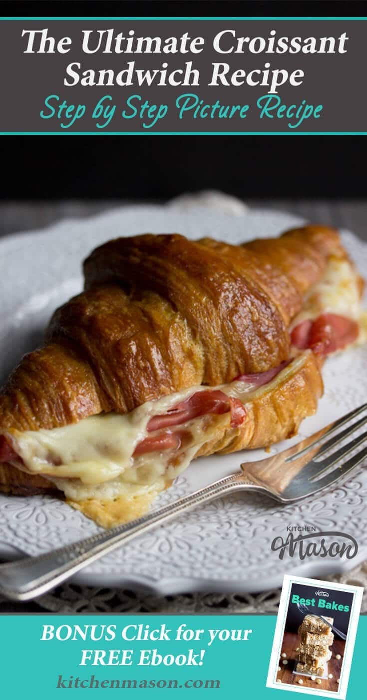 The perfect quick lunch idea, this GORGEOUS croissant sandwich is loaded with gouda cheese and prosciutto. Would also be a great brunch recipe too! #croissant #croissants #croissantsandwich