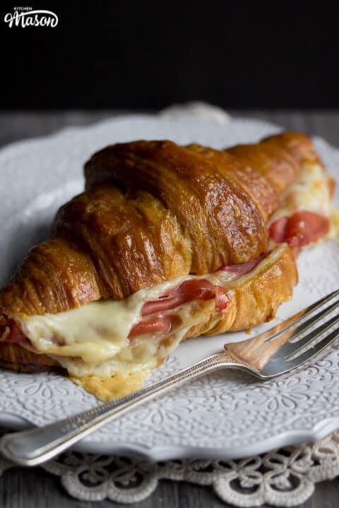 Prosciutto & Gouda Croissant Sandwich on a Plate