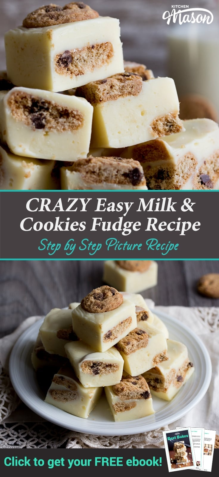 Milk & Cookies Chocolate Fudge Recipe: fudge on a plate