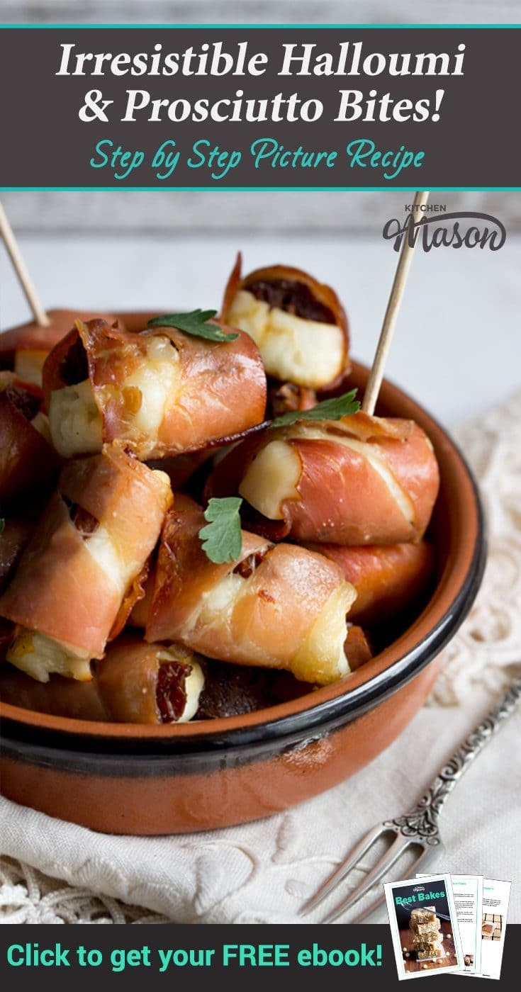 The perfect party snack, these super quick & easy to make halloumi & prosciutto bites are a guaranteed crowd pleaser! Party food at it's finest. #partyfood #partysnacks #prosciutto #halloumi