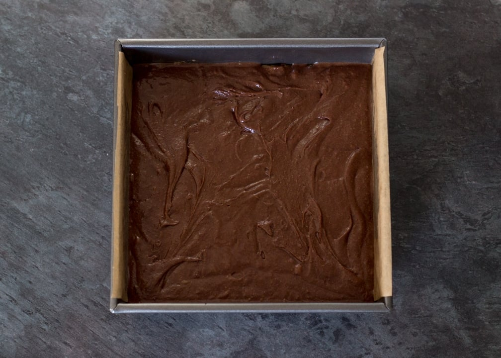 Brookie Recipe - Brownie batter in a baking tin