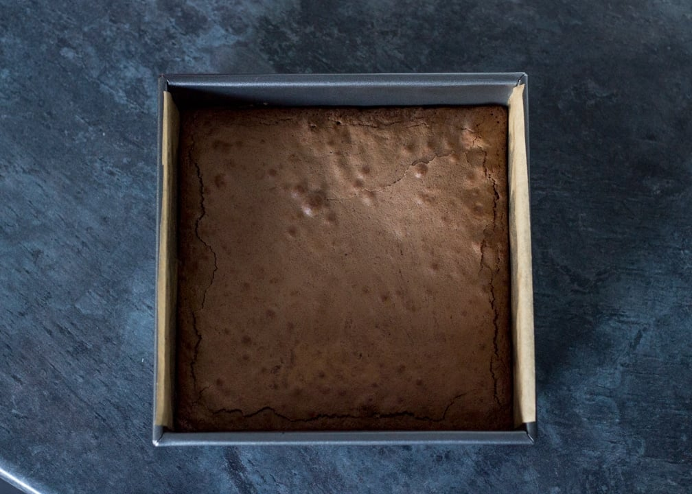 Brookie Recipe - Cooked brookie in a baking tin