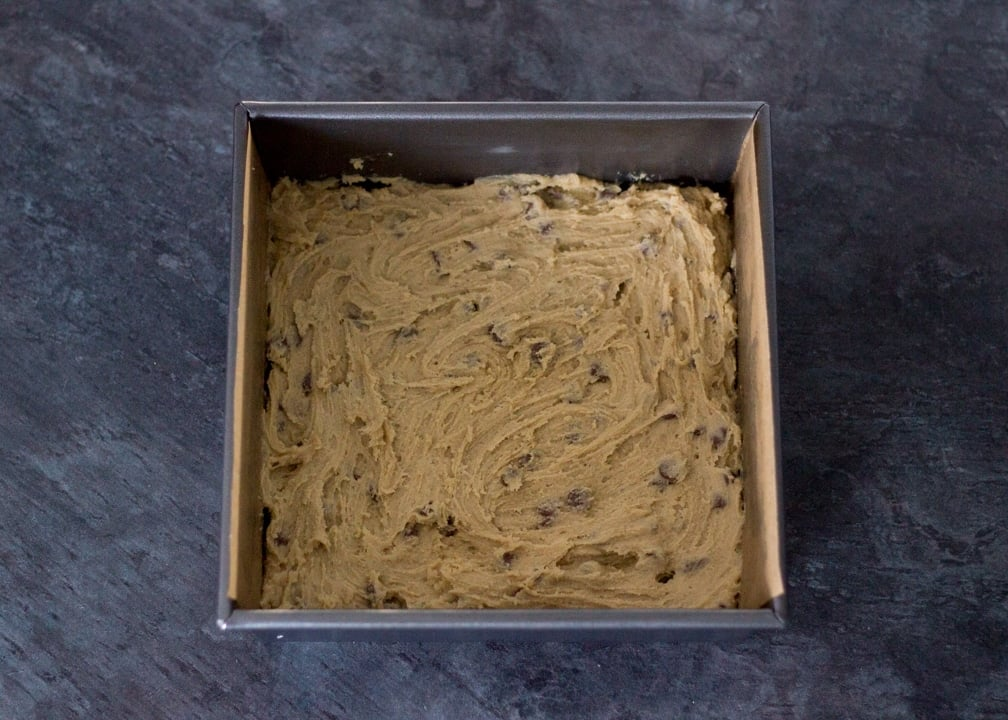 Brookie Recipe - Choc Chip Cookie Dough in a Baking Tin