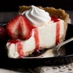 Vanilla Strawberry Cheesecake Recipe: slice on a plate