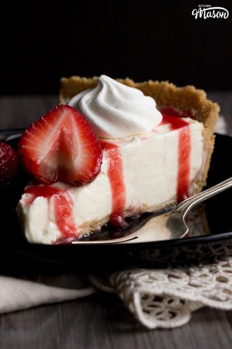Vanilla Strawberry Cheesecake Recipe: slice on a plate