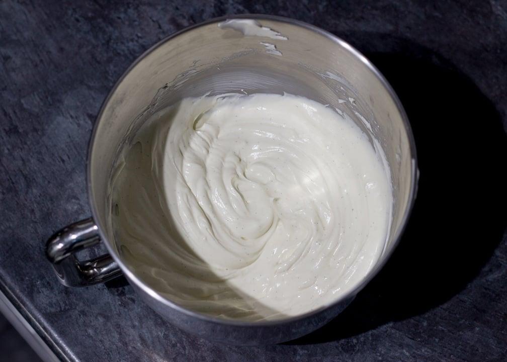Vanilla Strawberry Cheesecake Recipe: filling in a stand mixer bowl