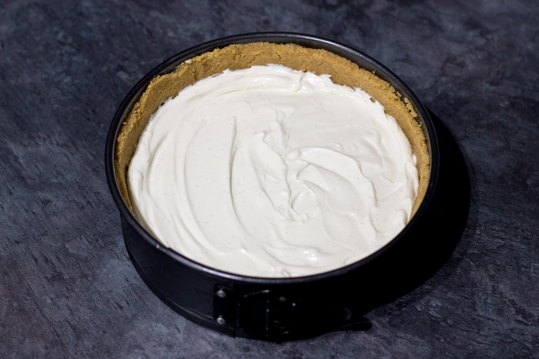 Vanilla Strawberry Cheesecake Recipe: ready for the fridge