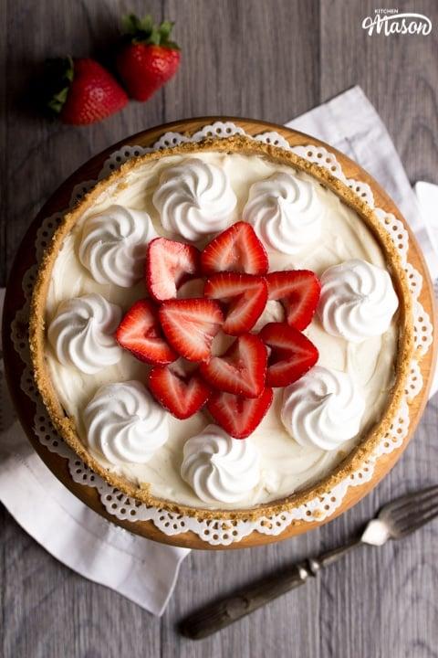 Vanilla Strawberry Cheesecake Recipe: on a cake stand