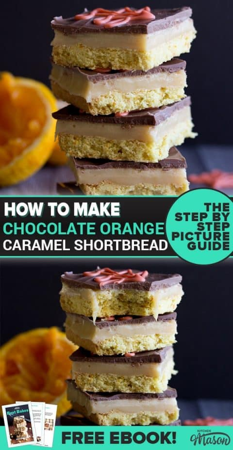 Chocolate Orange Caramel Shortbread in a stack