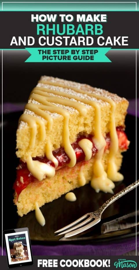 Slice of rhubarb and custard cake on a plate with a fork