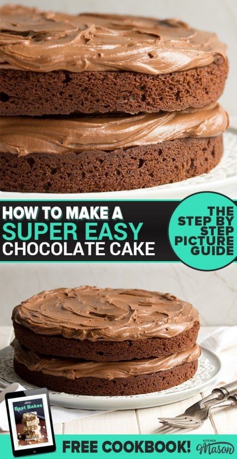 Easy chocolate cake recipe: Slice of chocolate cake on a plate with chocolate sauce
