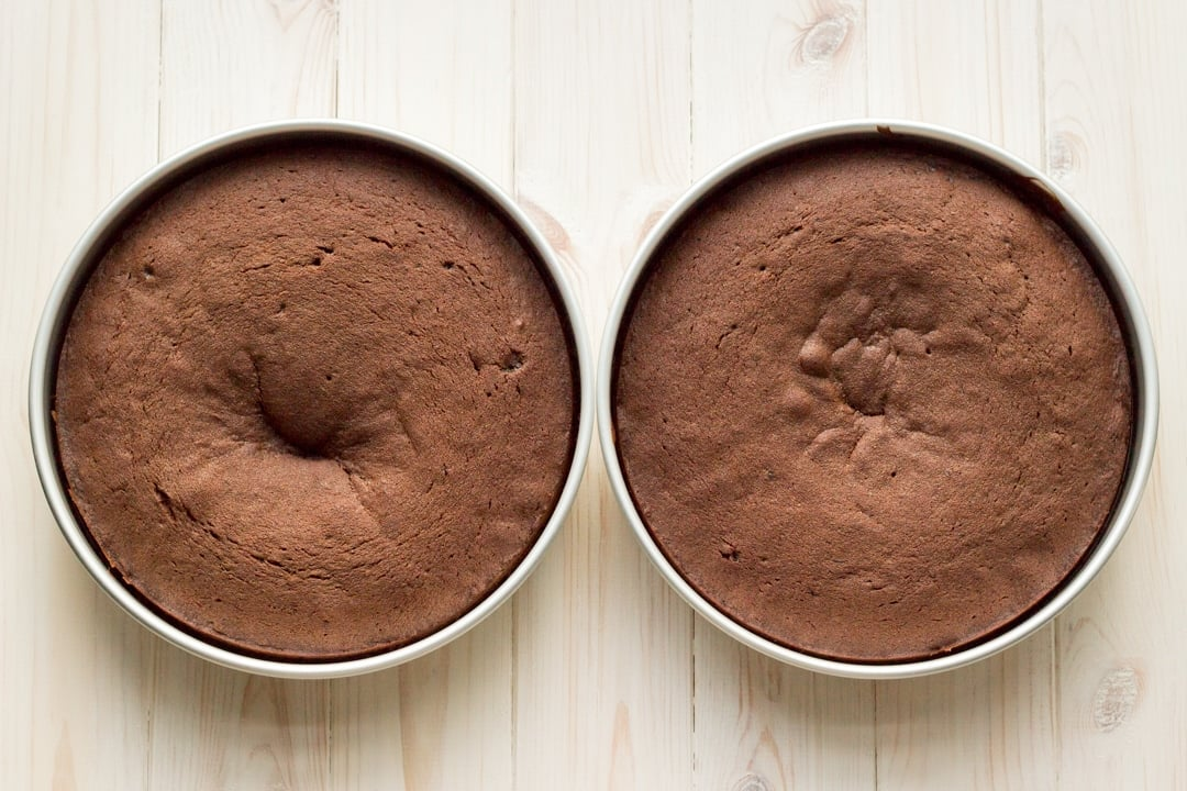 Easy chocolate cake recipe: Two baked Chocolate cakes in their tins