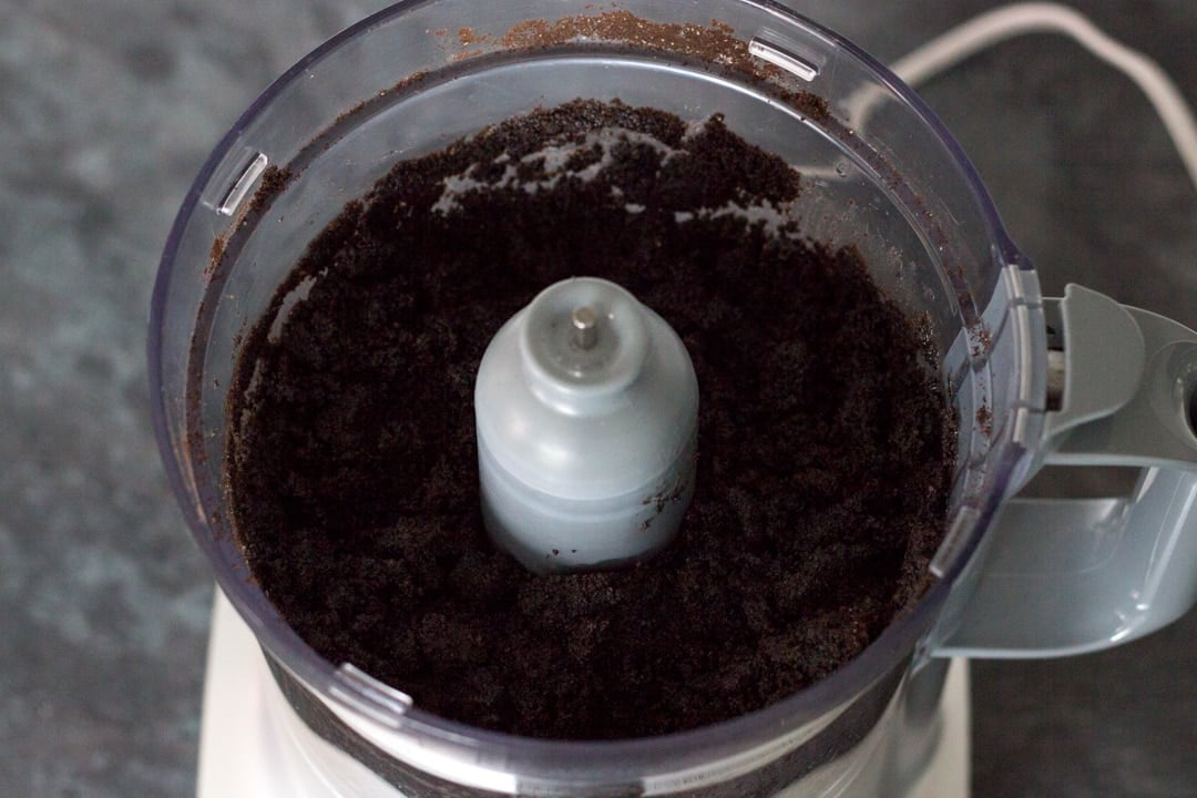 No Bake Chocolate Cheesecake: oreo crumbs in a food processor