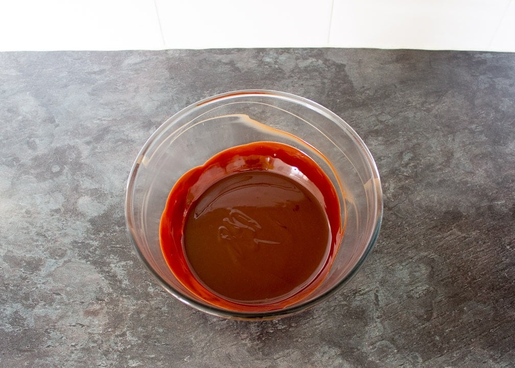 melted chocolate and butter in a glass bowl