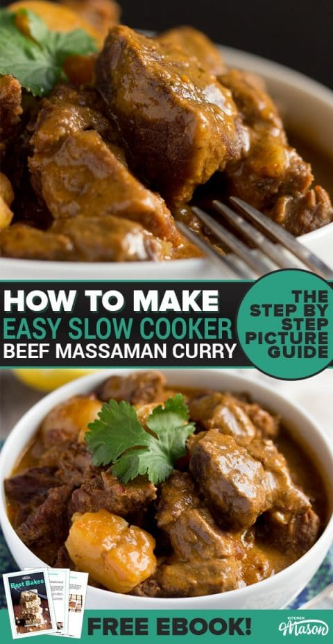 This incredibly easy slow cooker beef massaman curry recipe is SO tasty! With no precooking required, this is the perfect weeknight dinner or even an impressive dinner party recipe! Click to see for yourself. #massamancurry #easycurryrecipes #slowcookerrecipes