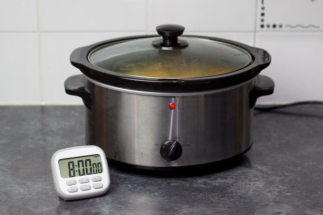 a slow cooker and a timer