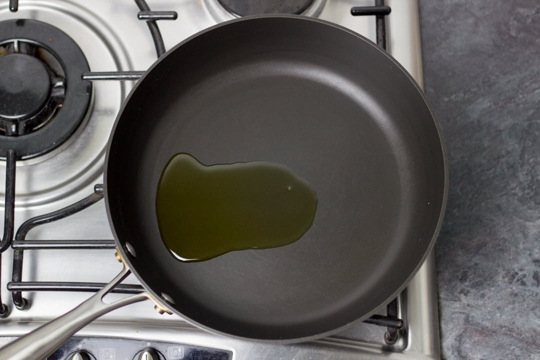 olive oil in a large saucepan (easy spaghetti bolognese)