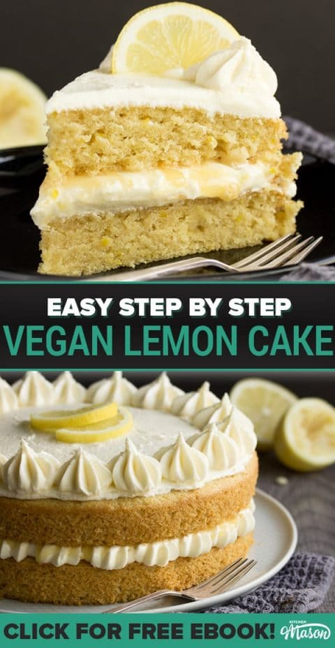 slice of dairy free / vegan lemon cake on a black plate with a fork