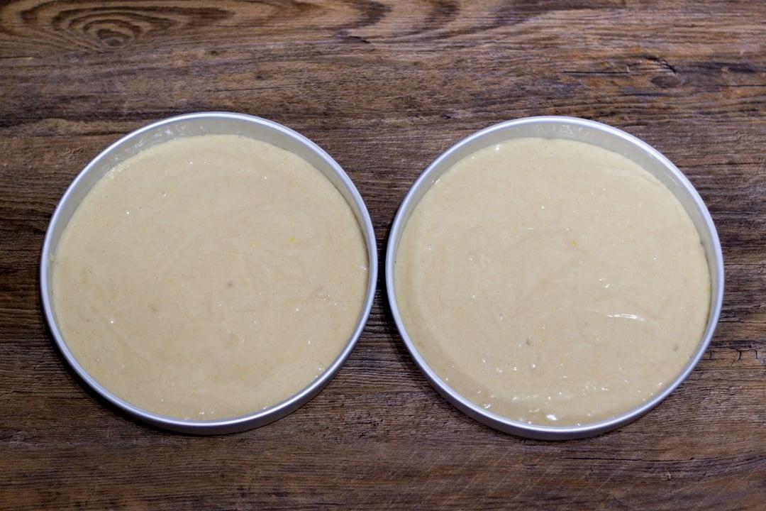 dairy free / vegan lemon cake batter in two round cake tins
