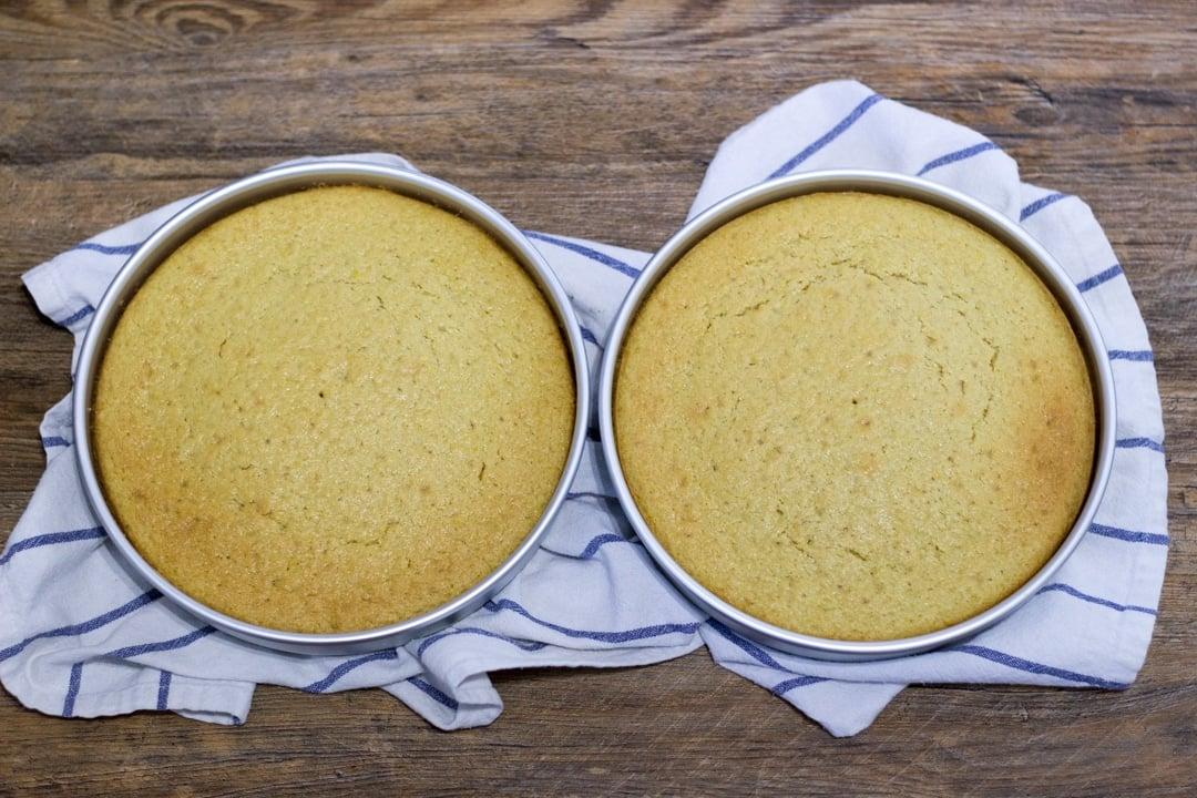 baked dairy free / vegan lemon cake layers in round tins