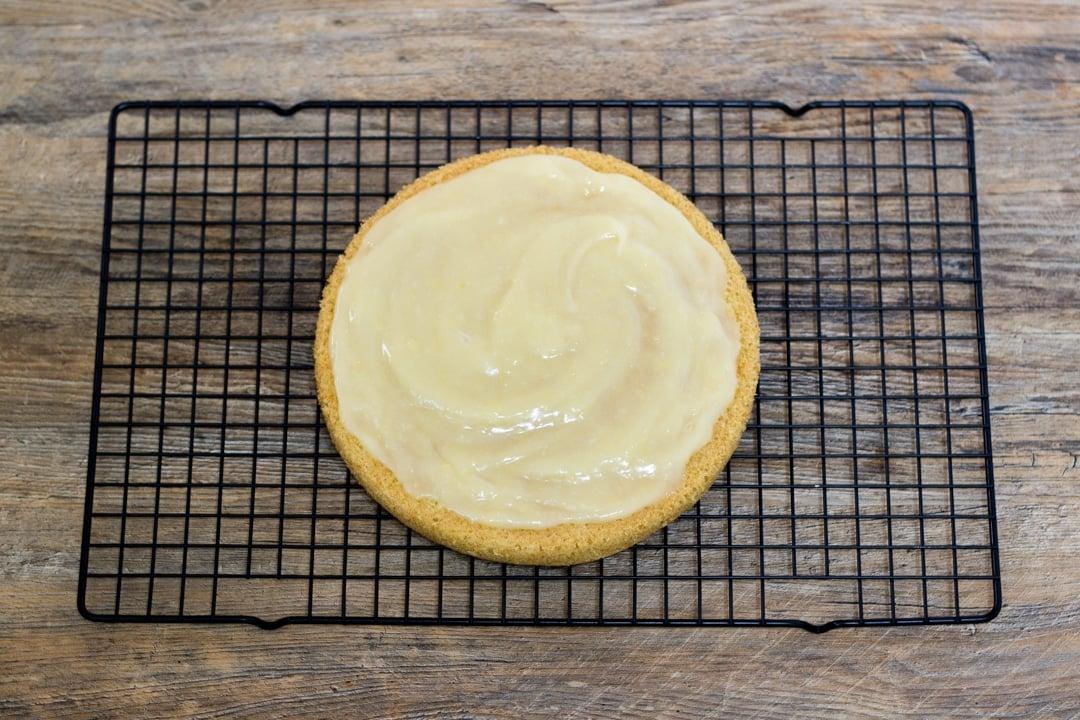 dairy free / vegan lemon cake layer with vegan lemon curd spread on top