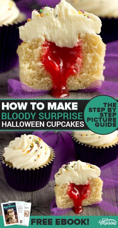 halloween cupcakes cut in half revealing a surprise blood filling with purple tuille in the background