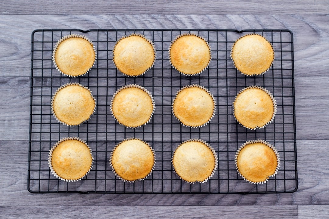 baked halloween cupcakes on a cooling rack