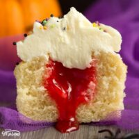 Easy 'Bloody Surprise' Halloween Cupcakes Recipe
