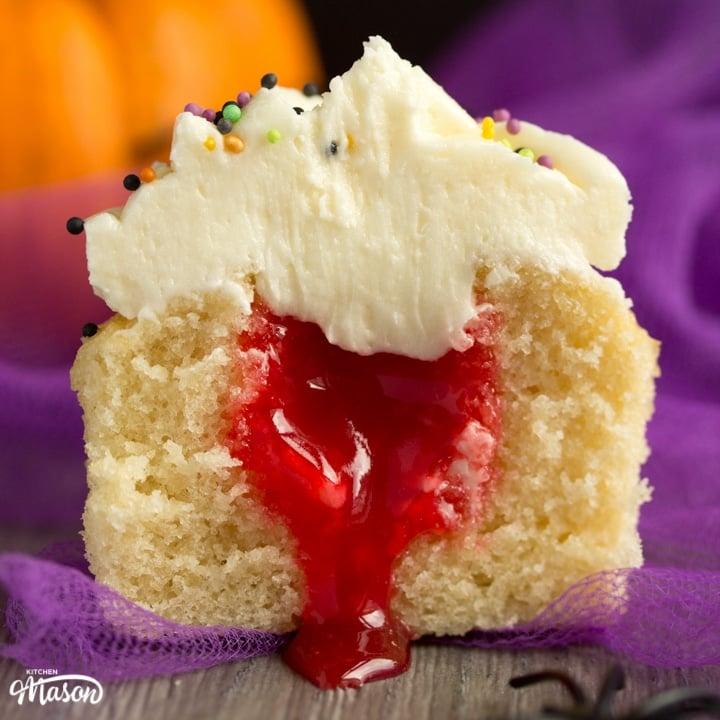 Easy 'Bloody Surprise' Halloween Cupcakes Recipe