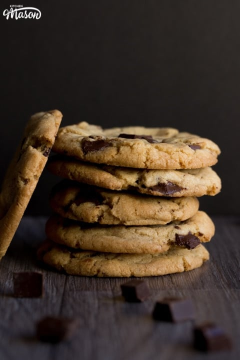 vegan chocolate chip cookies in a stack