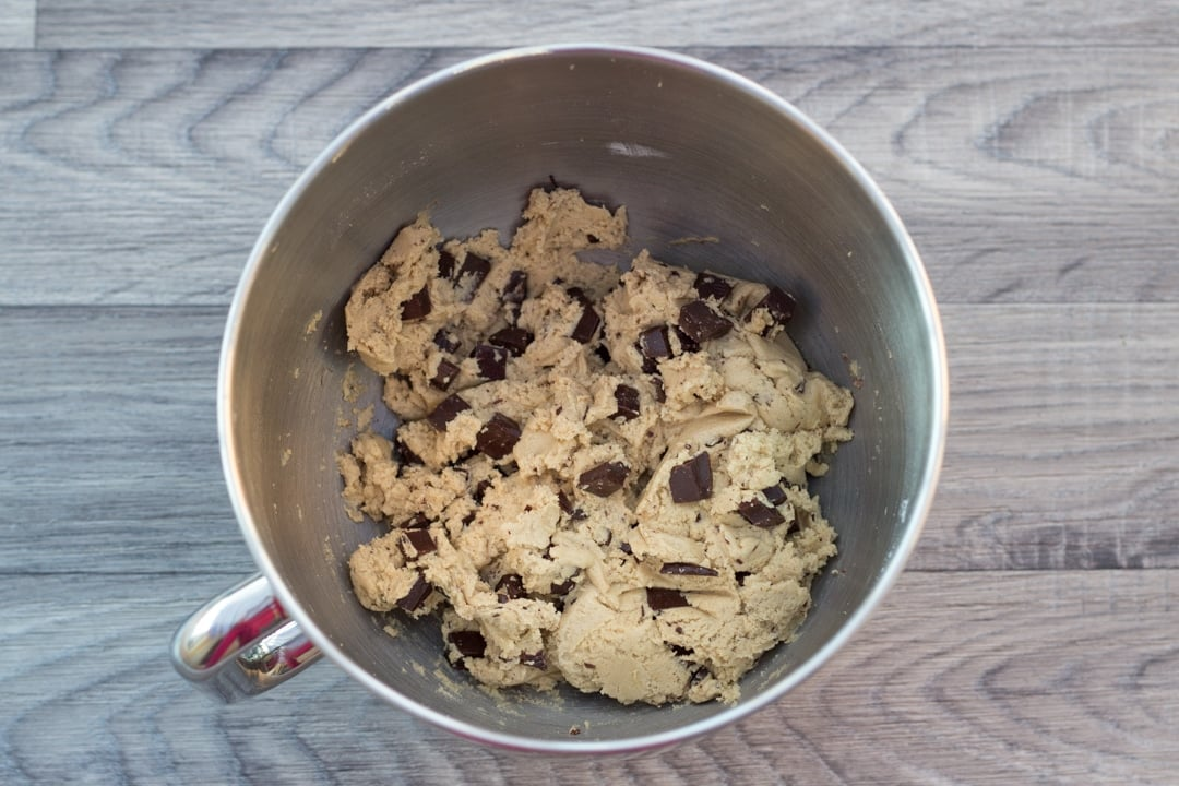 vegan chocolate chip cookie dough in a stand mixer
