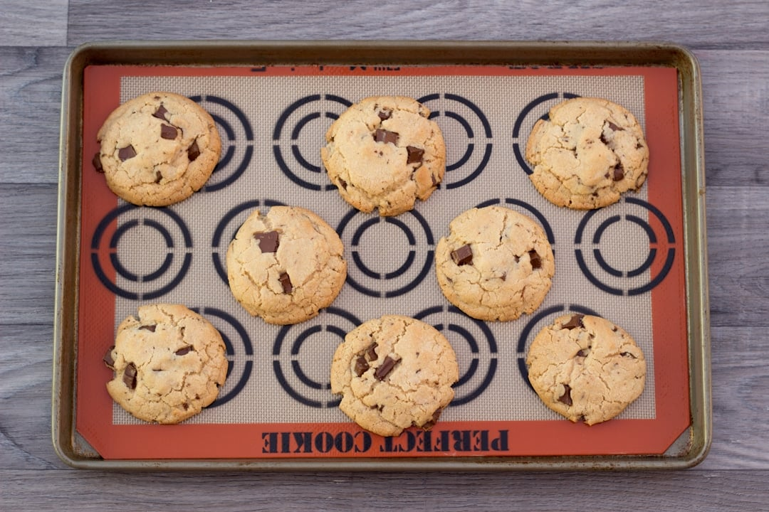 vegan chocolate chip cookies on a baking tray