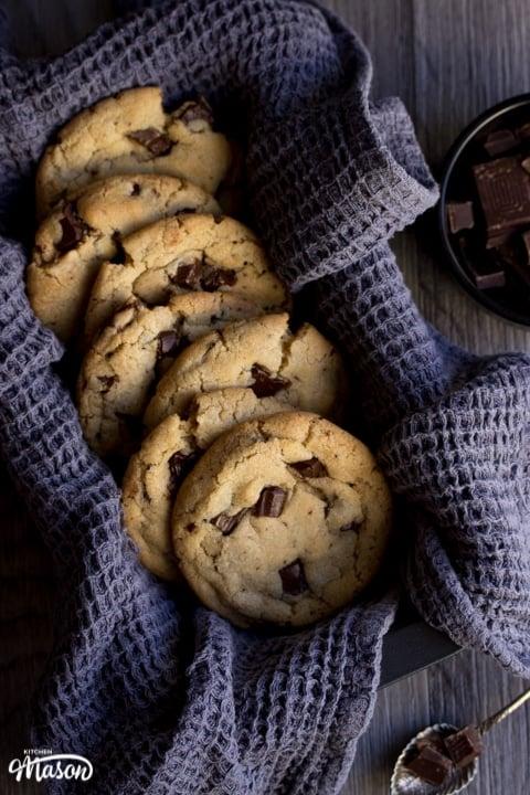vegan chocolate chip cookies in a tea towel