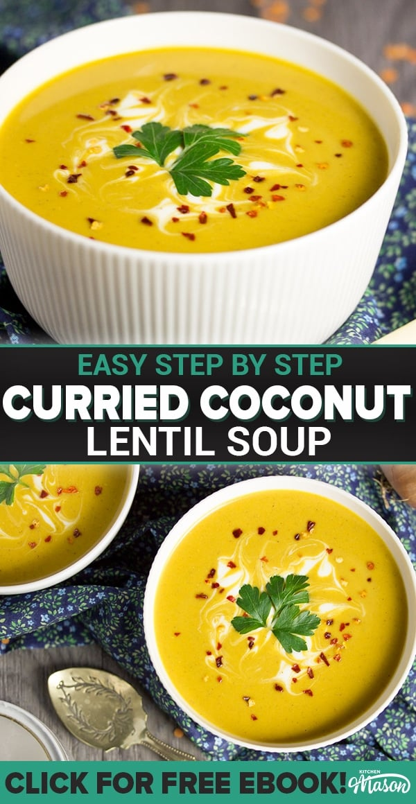 curried coconut lentil soup in a bowl with parsley and chilli flakes on top