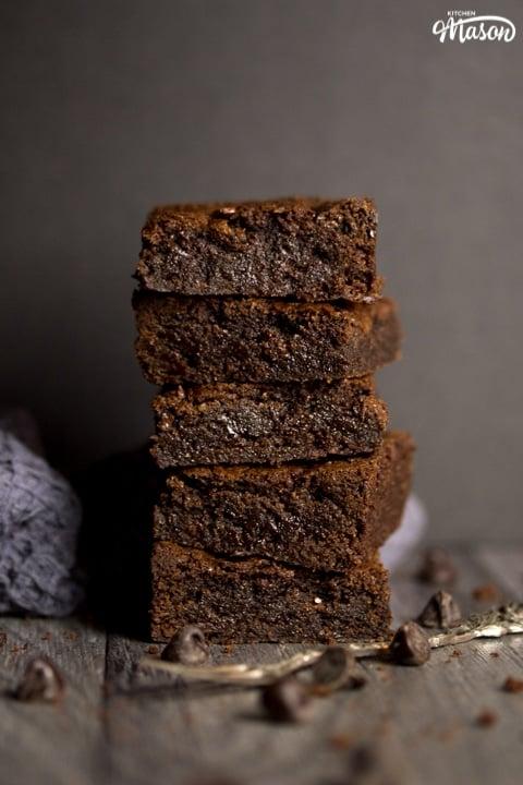 fudgy vegan gluten free brownies in a stack
