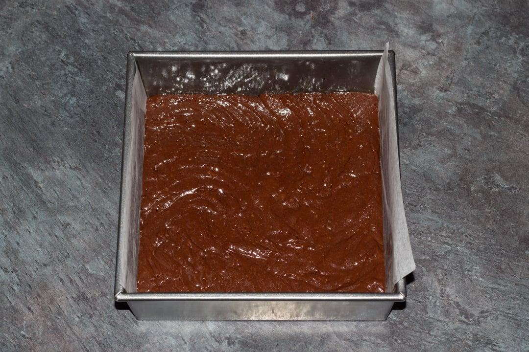 vegan gluten free brownies batter in a baking tin
