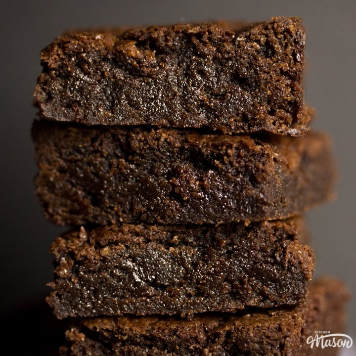 fudgy vegan gluten free brownies in a stack