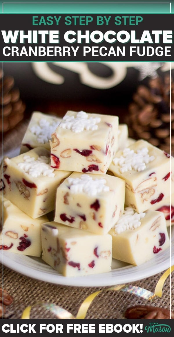 White chocolate pecan cranberry fudge on a plate