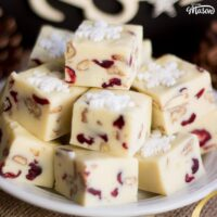 Festive White Chocolate Pecan Cranberry Fudge