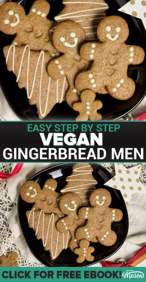 Easy gingerbread recipe: gingerbread men on a black plate