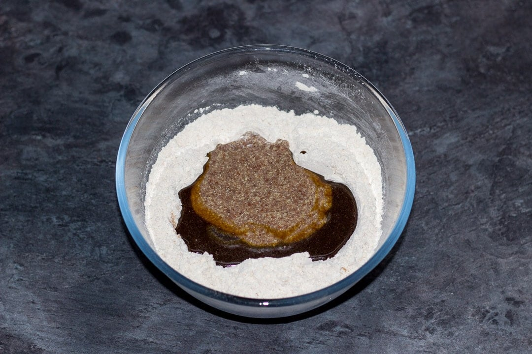 flour, butter/sugar syrup & flax egg in a large glass bowl