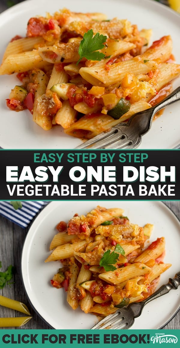 vegetable pasta bake on a plate with a fork