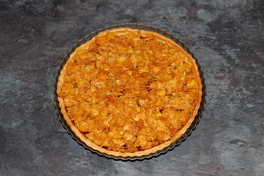 a cornflake tart freshly baked from the oven